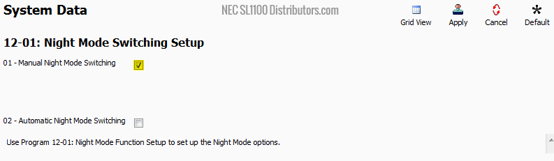 Programming a Manual Night Mode Button on the NEC SL2100 or